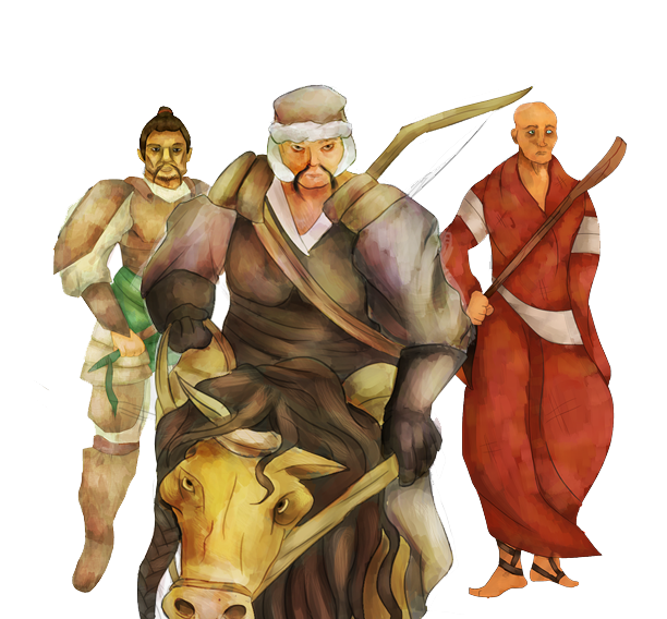 Concept art image of three people