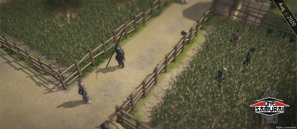 Samurai hidden in a field as it begins to burn